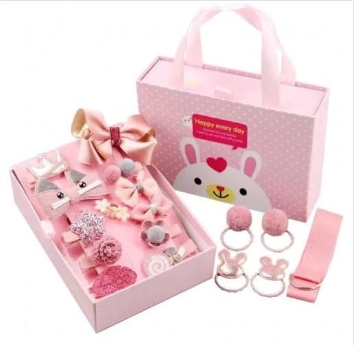 Подарочный набор заколок для девочек, 18 предметов, Цвет Светло-Розовый