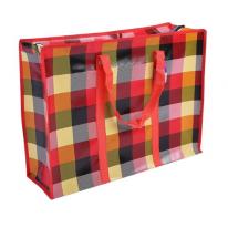 Двухслойная прочная хозяйственная сумка на молнии, 60х45х18 см, красный