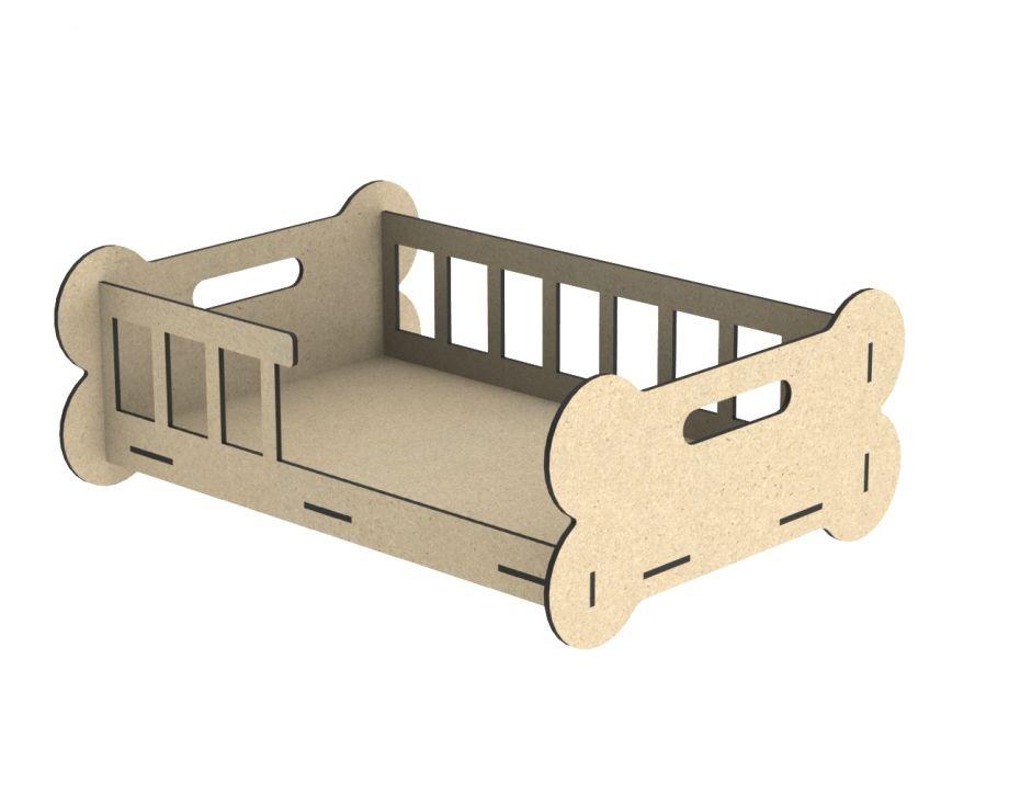 Лежанка для собак в виде кроватки с костью
