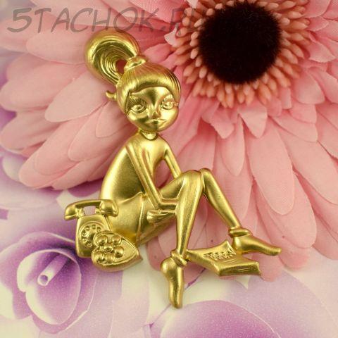 """Брошь """"Девушка у телефона"""" цвет золота (AJC США)"""