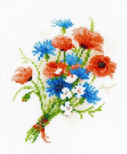 Набор для вышивания крестом Букетик с васильками №1576 фирма Риолис