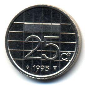 Нидерланды 25 центов 1995
