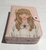 Шкатулка для ювелирных изделий Блокнот с девушкой, 20х14х5 см, цвет розовый платье серо белое