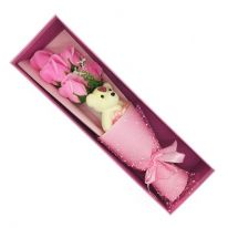 Букет из мыльных роз с мишкой в коробке, 37х11х8 см, розовый