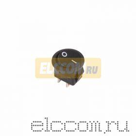 Выключатель клавишный круглый 250V 6А (2с) ON-OFF черный Micro (RWB-105, SC-214)