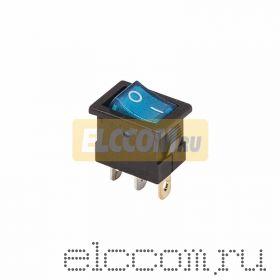 Выключатель клавишный 12V 15А (3с) ON-OFF синий с подсветкой Mini (RWB-206-1, SC-768)