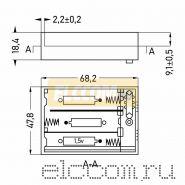 Батарейный отсек 3 х АА (с проводами, закрытый)