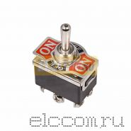 Тумблер 250V 6А (6c) ON-OFF-(ON) двухполюсный (KN-213)