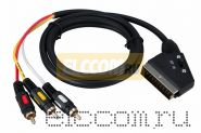 Шнур SCART Plug - 3RCA Plug с переключателем, GOLD, (круглый кабель), 1.5М REXANT