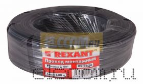 Провод монтажный (автомобильный) 1 мм2 100м черный (ПГВА) REXANT