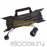Удлинитель на рамке 30м (1 роз.) 2х0.75 черный REXANT (Сделано в РОССИИ)