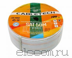 Кабель SAT 50M+CU/Al/CU, 75 Ом, 100м., белый CABLETECH