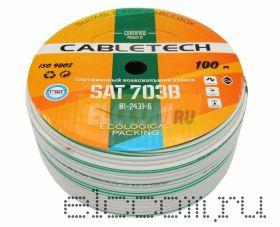 Кабель SAT 703B+CU/Al/CU, 75 Ом, 100м., белый CABLETECH