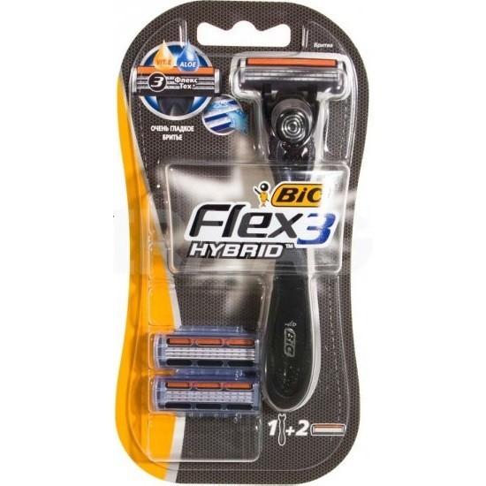 Bic Flex 3 Hybrid сменные кассеты (2 шт) + бритва, промо-набор