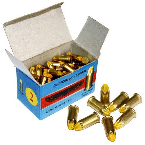 Патрон монтажный для строительных пистолетов тип Д2 калибр 6,8х18 желтый, упаковка 100 штук