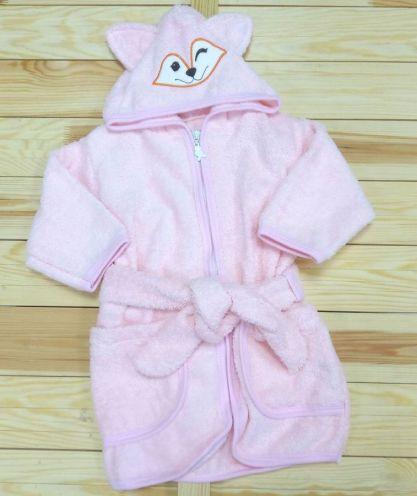 Халат банный с капюшоном махра V-XA033(k)-MA / цвет розовый
