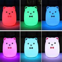Мягкий Силиконовый Ночник Colorful Silicone Lamp, Розовый Мишка с бабочкой_2