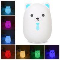 Мягкий Силиконовый Ночник Colorful Silicone Lamp, Голубой Мишка с галстуком_2