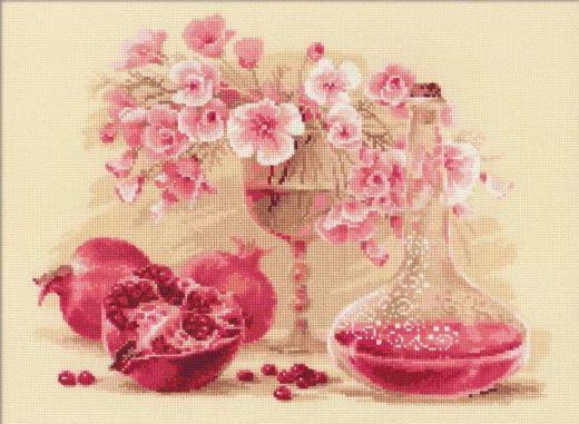 Набор для вышивания крестом Розовый гранат №1618 фирма Риолис