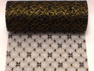 Фатин с люрексом, средняя жесткость, ширина 15 см, бобина 10 ярдов, цвет №4 черный