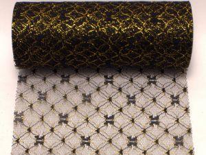 `Фатин с люрексом, средняя жесткость, ширина 15 см, цвет №4 черный