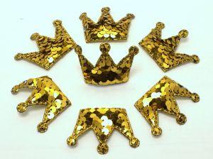 """Патч """"Корона с пайетками"""", 53*40 мм, цвет  золото (1уп = 10шт)"""