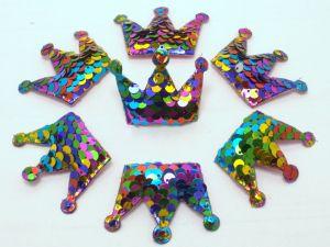 "Патч ""Корона с пайетками"", 53*40 мм, цвет  радуга (1уп = 10шт)"
