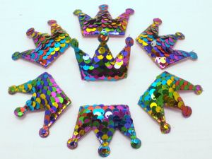 """`Патч """"Корона с пайетками"""", 53*40 мм, цвет  радуга"""