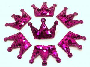 """`Патч """"Корона с пайетками"""", 53*40 мм, цвет  ярко-розовый"""