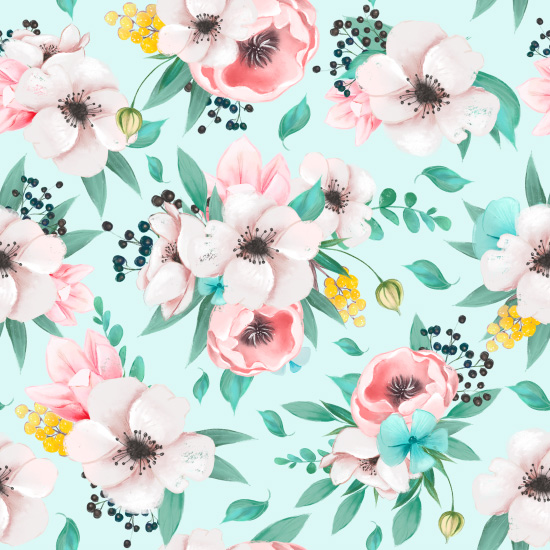 Хлопок Перкаль Цветы на мятном 50х40