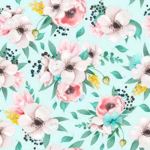 Хлопок Перкаль Цветы на мятном 50х37