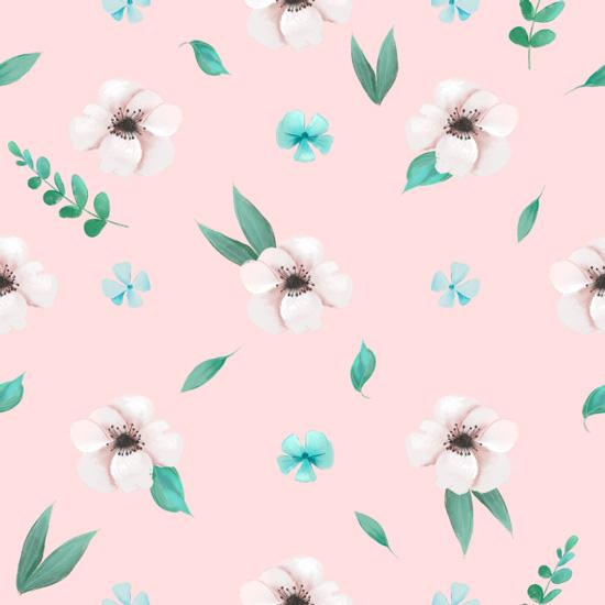 Хлопок Сатин Нежные цветы на розовом 50х40