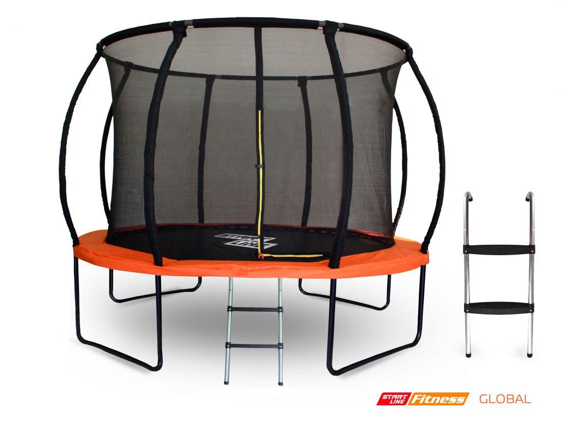 Батут GLOBAL 305см с внутренней сеткой и лестницей