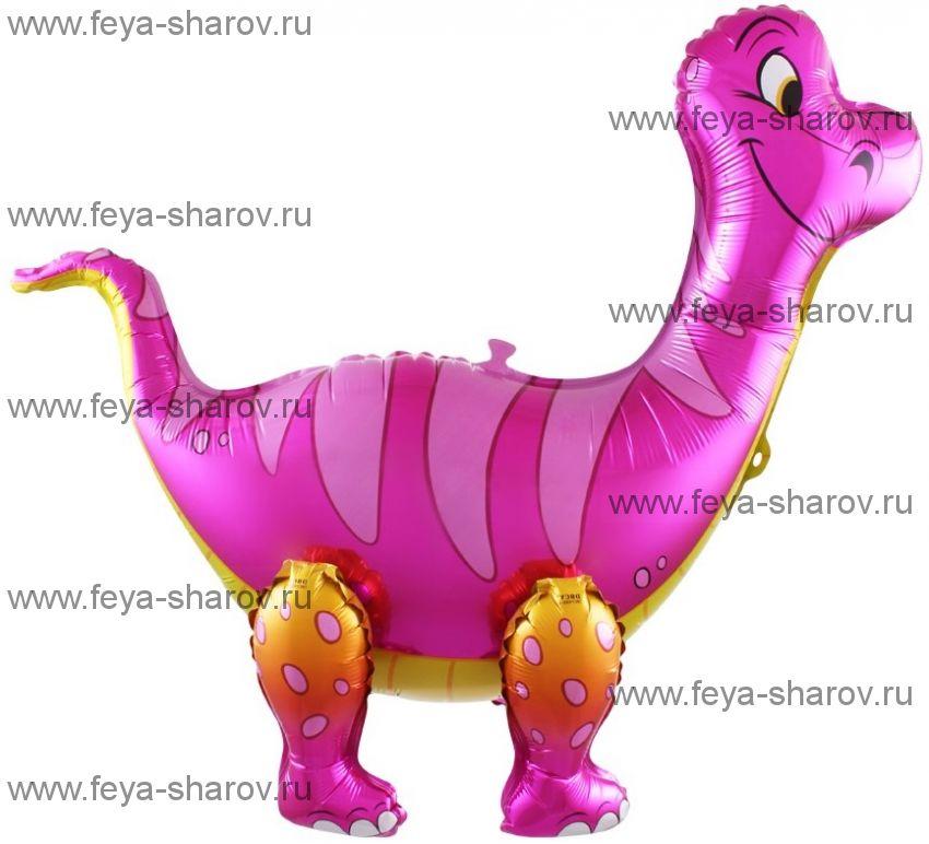 Шар Динозавр Брахиозавр Розовый