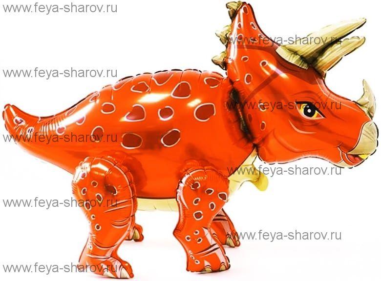 Шар Динозавр Трицеатопс 91 см Оранжевый