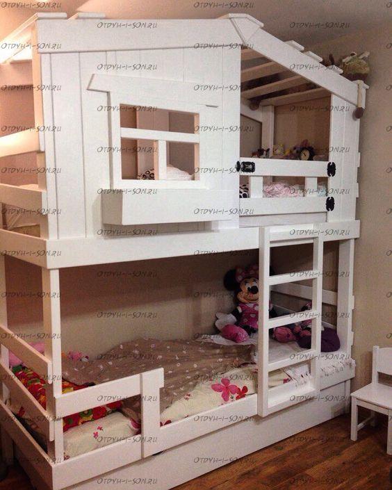 Двухъярусная кровать домик Roof №12