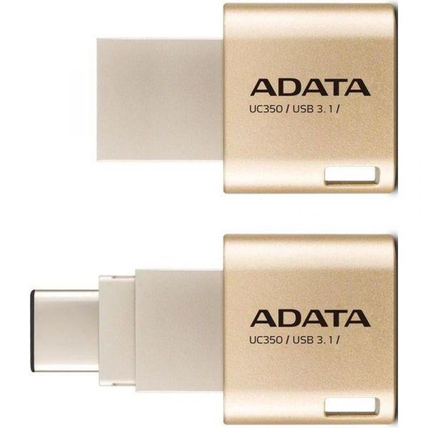 64GB USB3.1 Type C / Type A -флэш накопитель ADATA  UC350 золотой