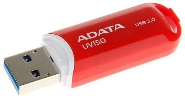 16GB USB 3.0 флэш накопитель ADATA UV150 красная 90/20 МБ/с