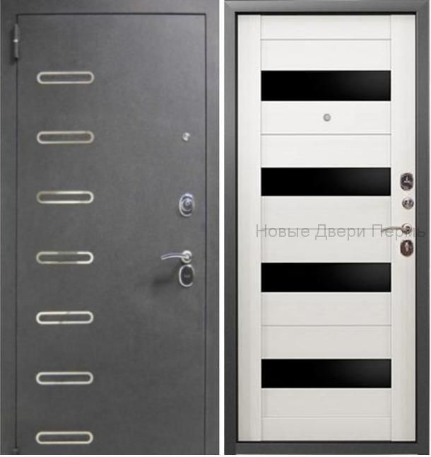 Страж 2К Аксель черный муар/капучино Входная дверь с витрины