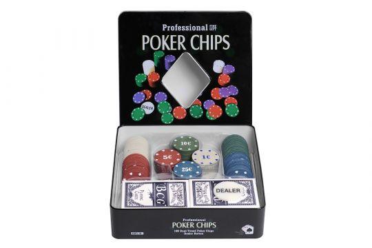 Покер 100 фишек HL с номиналом с картами