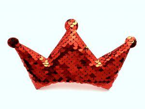 """`Патч """"Корона с пайетками"""", 140*85 мм, цвет  красный"""