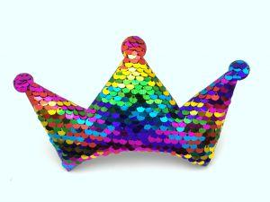 """`Патч """"Корона с пайетками"""", 140*85 мм, цвет  радуга"""