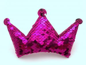 """`Патч """"Корона с пайетками"""", 140*85 мм, цвет  ярко-розовый"""