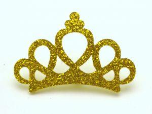 """Патч """"Корона с блестками"""", 46*31 мм, цвет  желтый (1уп = 25шт)"""