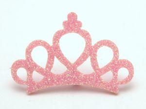 """Патч """"Корона с блестками"""", 46*31 мм, цвет  светло-розовый (1уп = 25шт)"""