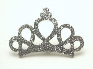 """Патч """"Корона с блестками"""", 46*31 мм, цвет  серебро (1уп = 25шт)"""