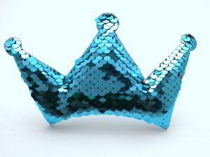 """Патч """"Корона с пайетками"""", 140*85 мм, цвет  голубой (1уп = 5шт)"""
