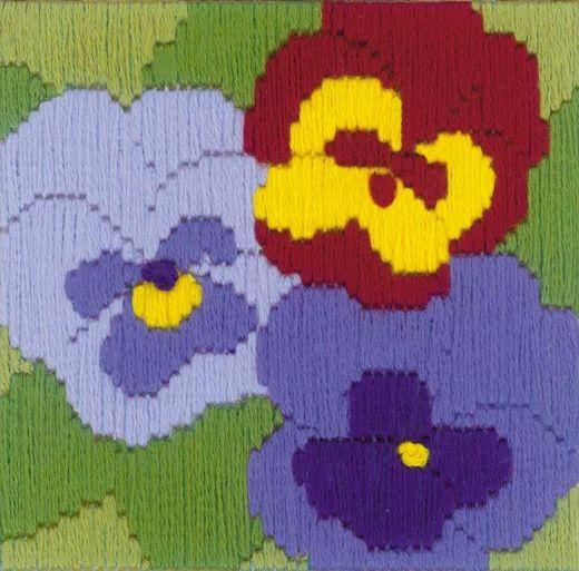 Набор для вышивания крестом Три анютки №1633 фирма Риолис