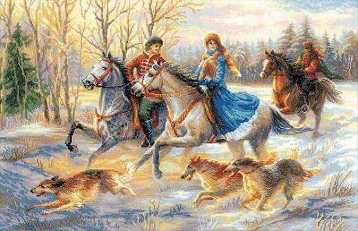 Набор для вышивания крестом Русская охота №1639 фирма Риолис