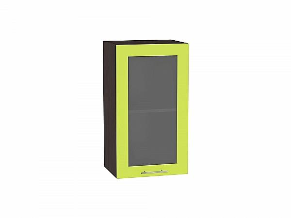 Шкаф верхний Валерия В400 со стеклом (лайм глянец)